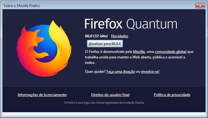 Janela Sobre o Firefox / como atualizar o firefox
