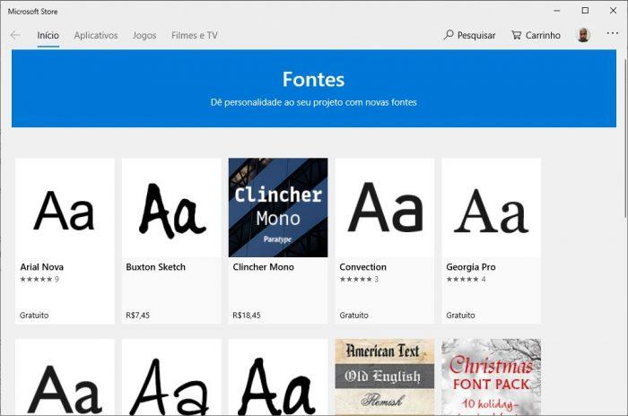 Microsoft Store / como instalar fontes no Windows