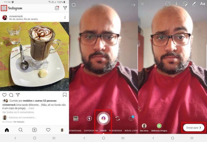 Android / Instagram / modo foco instagram