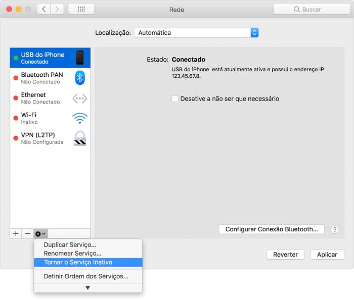 macOS / acesso USB / acesso pessoal iphone