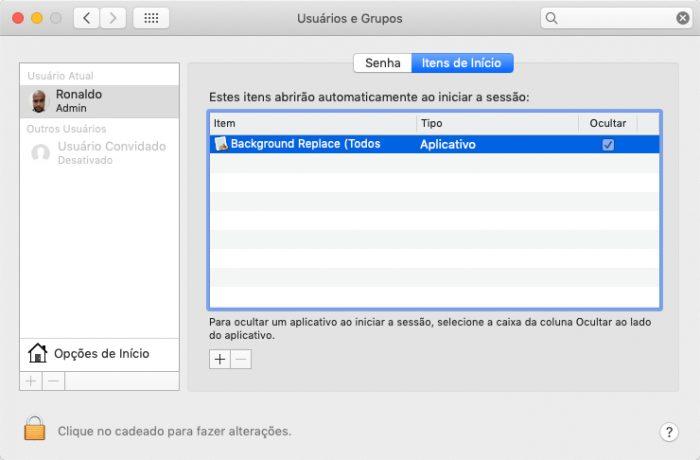 macOS / Janela de Usuários e Grupos /desabilitar programas que iniciam com o mac