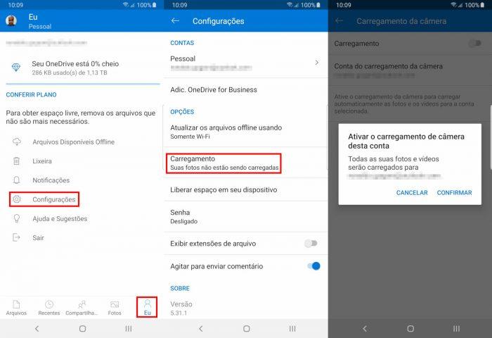 Android / OneDrive / Como usar o OneDrive para armazenar fotos