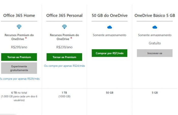 Microsoft / planos OneDrive e Office 365 / obter mais espaço onedrive