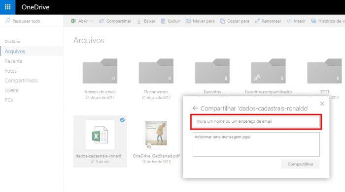 OneDrive / como compartilhar arquivos no onedrive