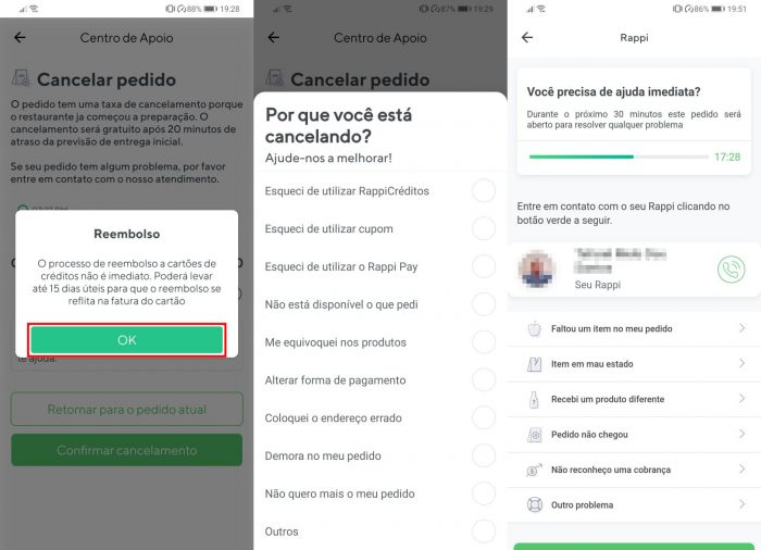 Android / Rappi / como cancelar pedido rappi