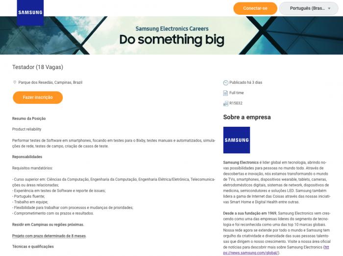 Samsung Bixby em português / Vagas de emprego