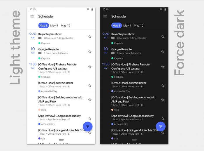 Android Q - Tema escuro