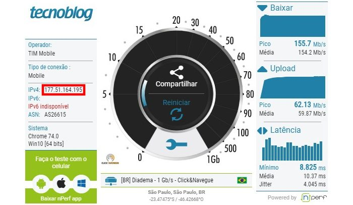 Tecnoblog / teste de velocidade / o que é ip