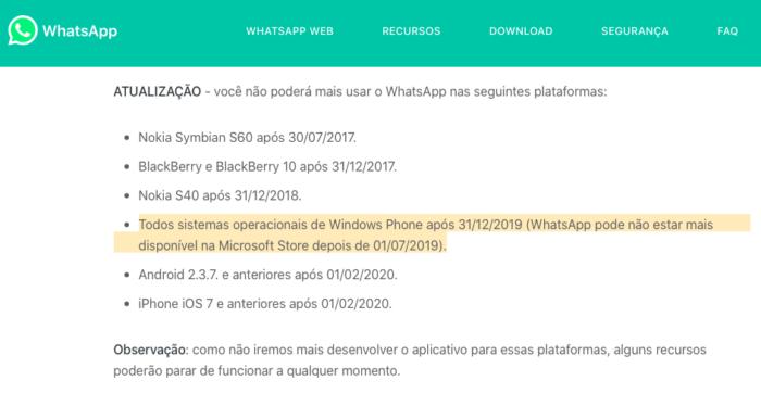 compatibilidade do whatsapp com windows phone, fim do suporte