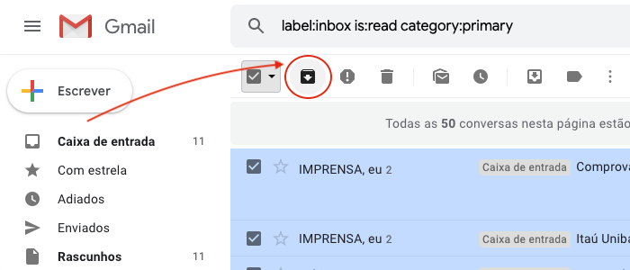 Arquivar e-mails Gmail