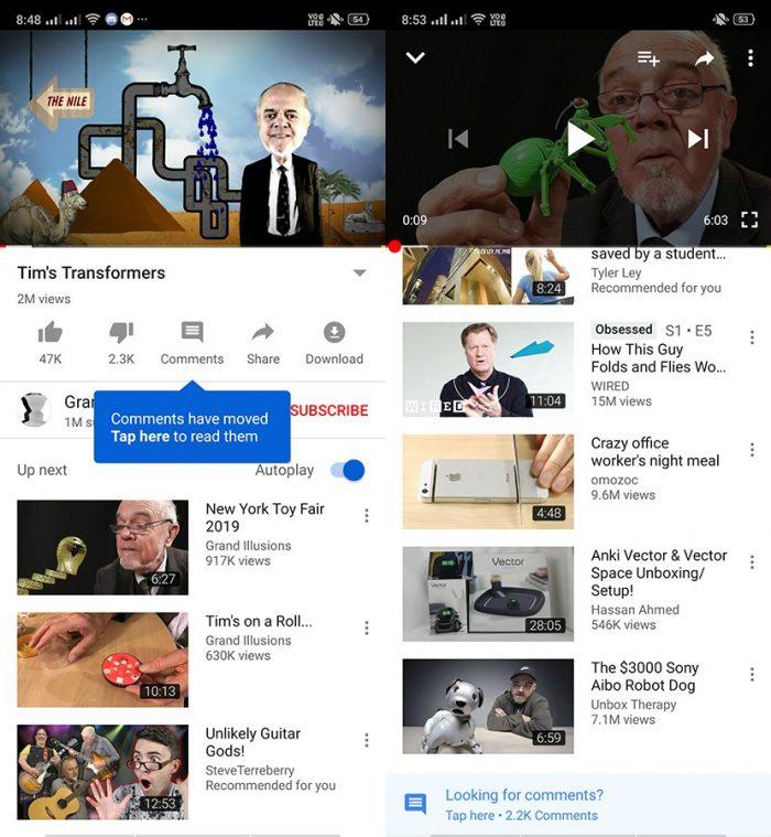 Novo local para comentários no YouTube para Android.
