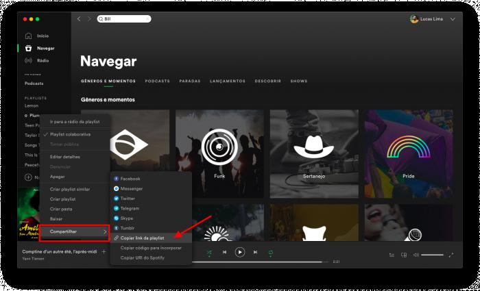 como compartilhar playlist no spotify