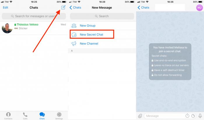 tela de como criar chat secreto no telegram