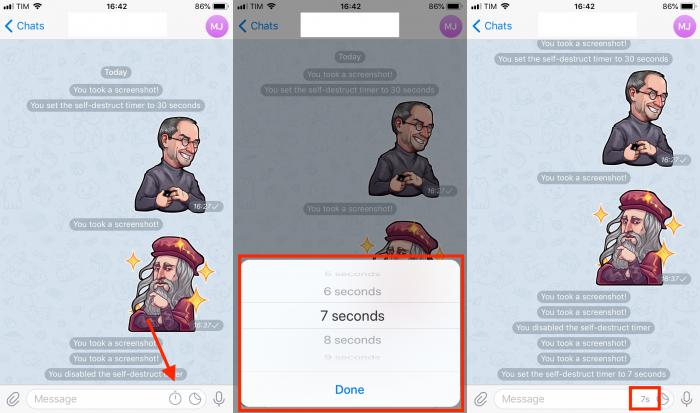como criar tempo de autodestruição de mensagem no Telegram