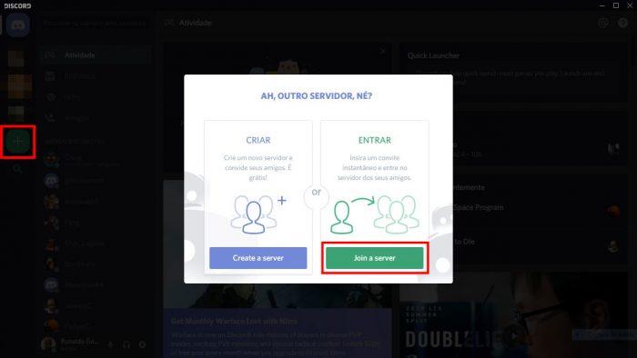 Discord / servidores no discord