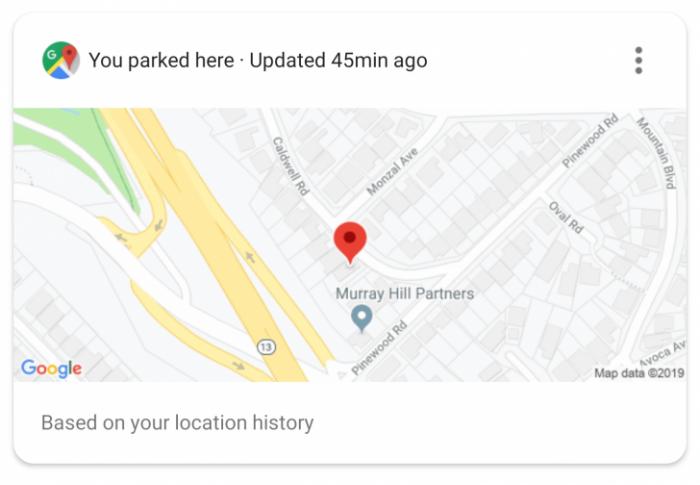 Google Assistente exibe local de estacionamento