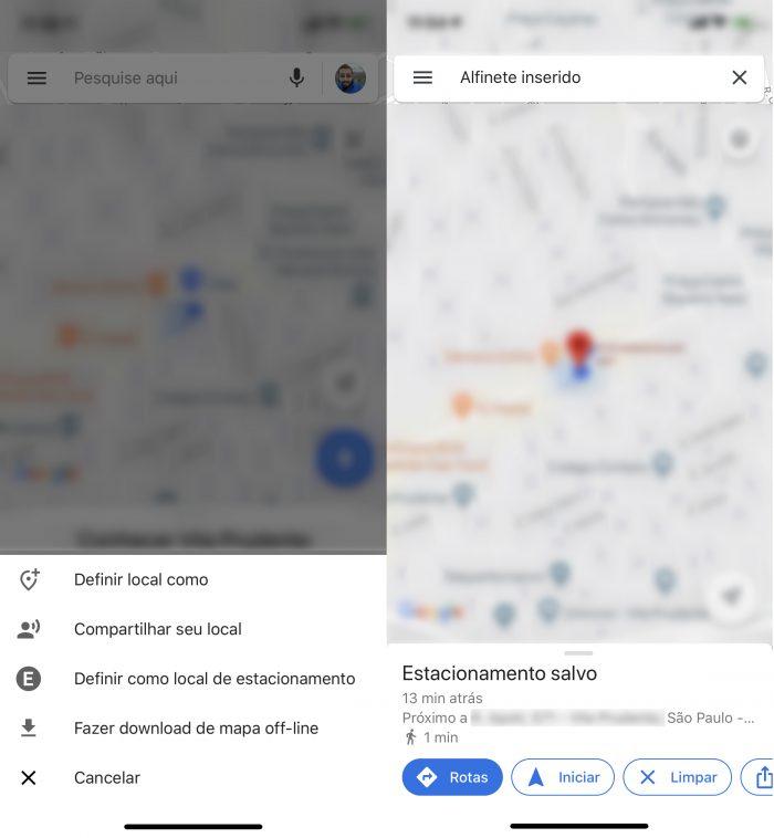 Google Maps também exibe estacionamento