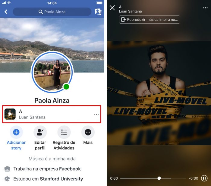 Facebook - música no perfil