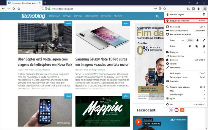 Mozilla / Firefox / filtros privacidade firefox