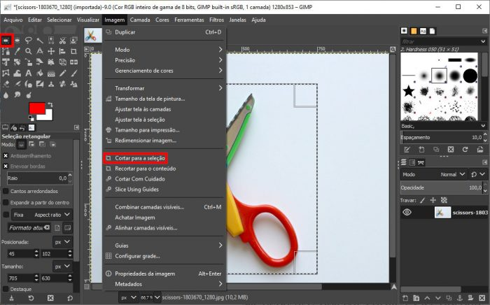 Windows / GIMP / como recortar uma imagem