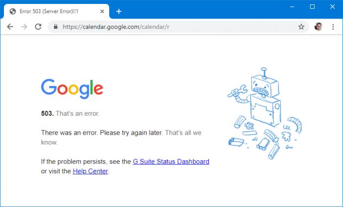 Google Agenda erro 503