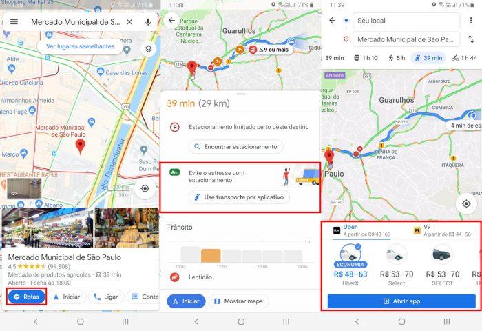 Android / Google Maps / preço uber