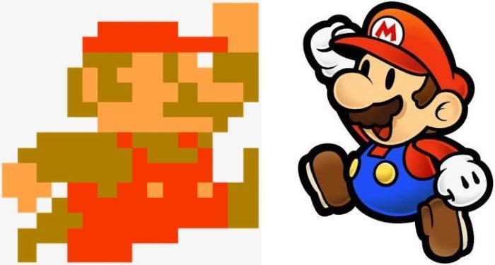 Nintendo / Mario (Super Mario Bros.) e Mario (Paper Mario) / o que é pixel