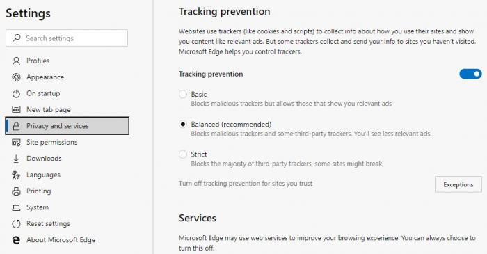 Microsoft Edge testa bloqueio a rastreamento