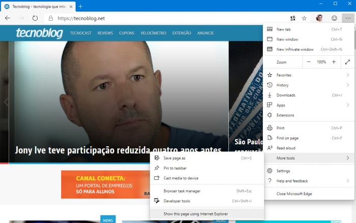 Microsoft Edge testa modo Internet Explorer