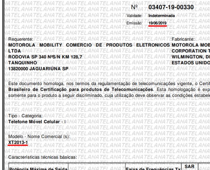 Motorola One Action na Anatel