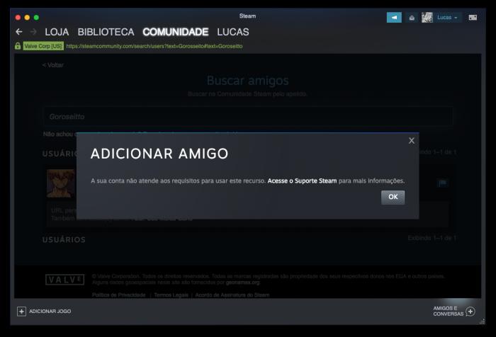 tela de mensagem que recurso de adicionar amigos no steam é bloqueado