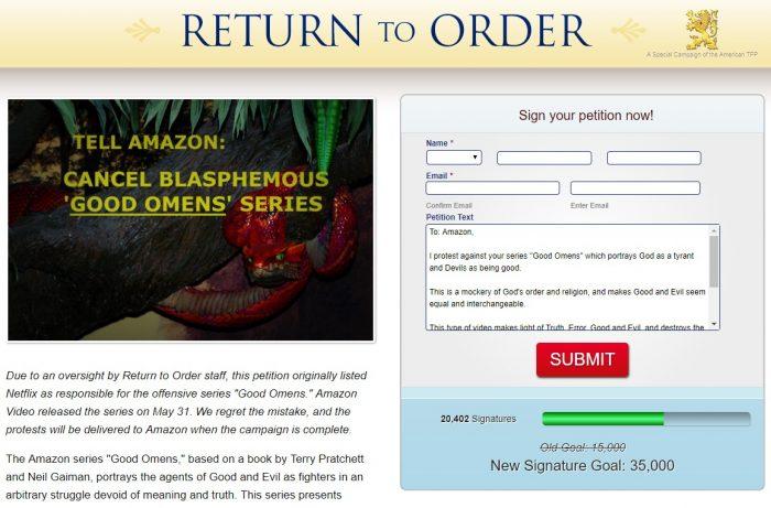 Petição contra Good Omens