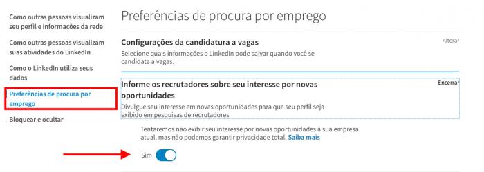 tela para colocar que está procurando emprego no linkedin