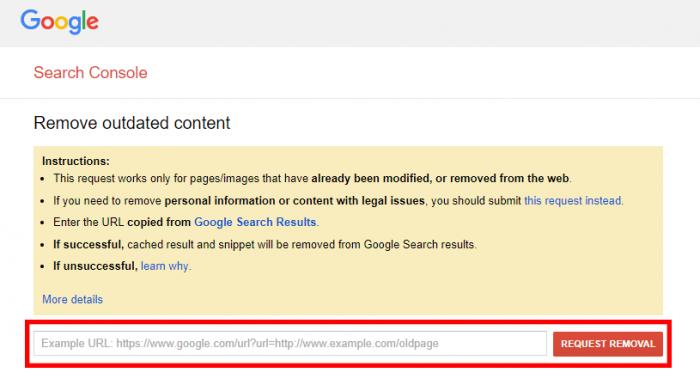 remover link google