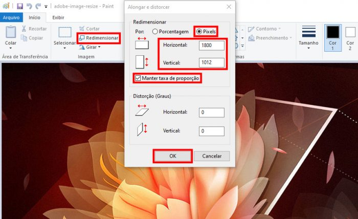 Windows / Paint / diminuir tamanho de foto