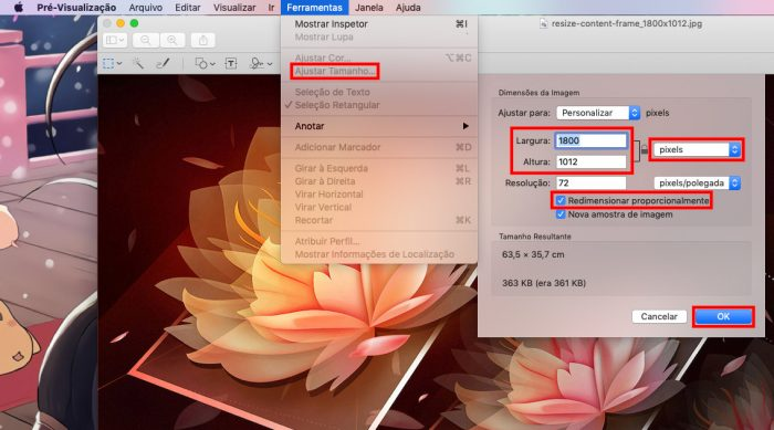 macOS / Pré-visualização / diminuir tamanho de foto