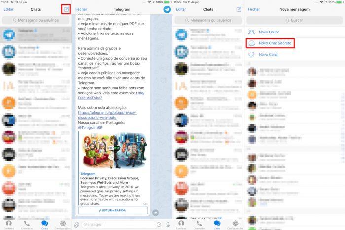 Apple / Telegram no iPad / chats secretos telegram