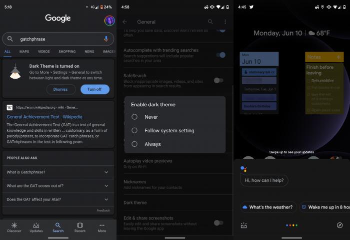 Tema escuro app Busca do Google Android