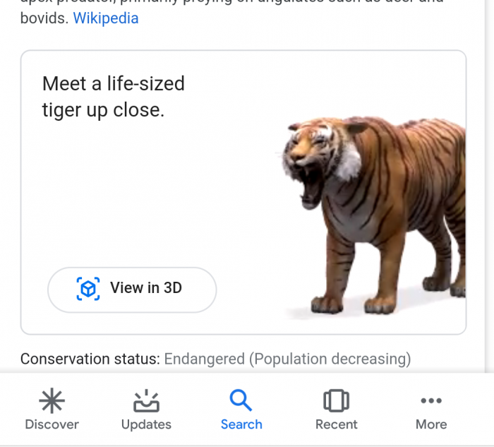 Tigre em realidade aumentada do Google