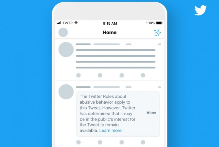 Aviso do Twitter  será feito acima do tweet identificado