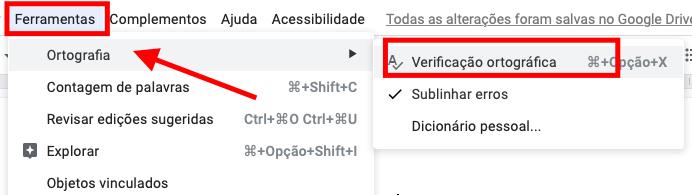 abrir verificação ortográfica do google docs