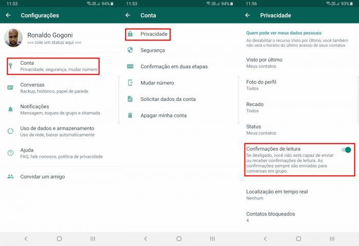Android / WhatsApp / como tirar a visualização do whatsapp
