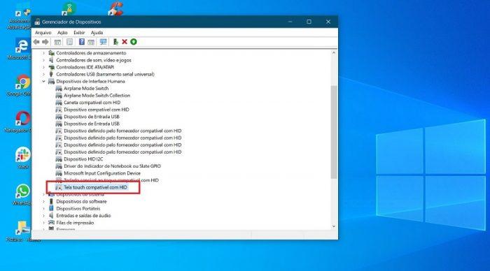 Dispositivo compatível com HID - Windows Desativar tela Touch