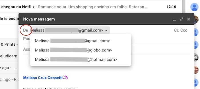 Escolher Alias Gmail