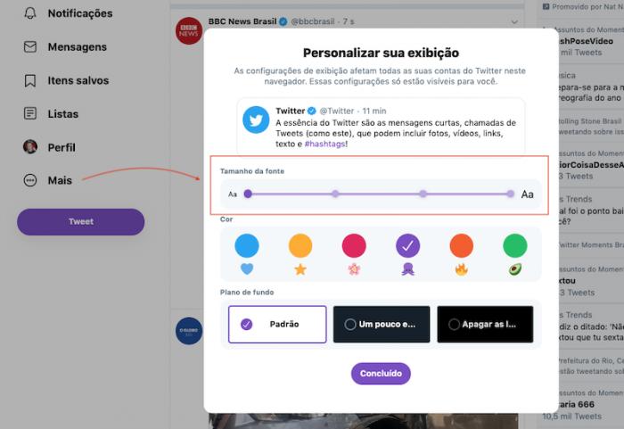 Twitter Novo Personalizar