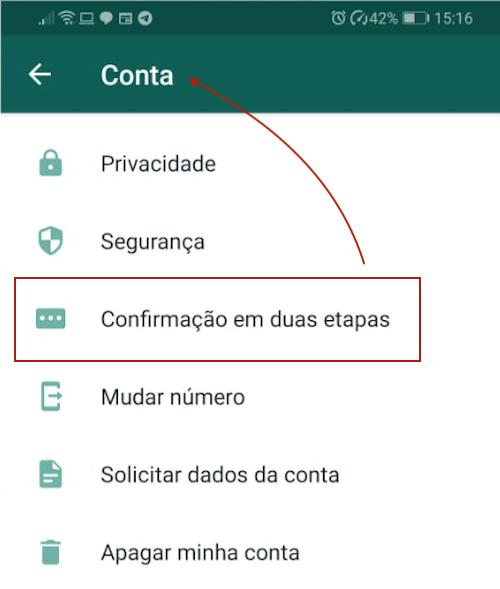 WhatsApp Verificação em Duas Etapas