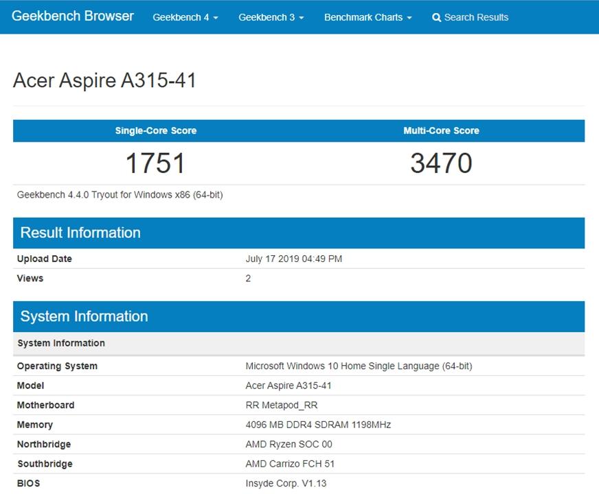 Desempenho do Acer Aspire 3 A315-41-R790 no Geekbench