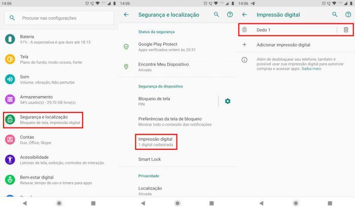 Android / Configurações / ocorreu um erro com o sensor de impressão digital