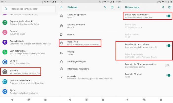 Android / Configurações / whatsapp diz que a hora está errada