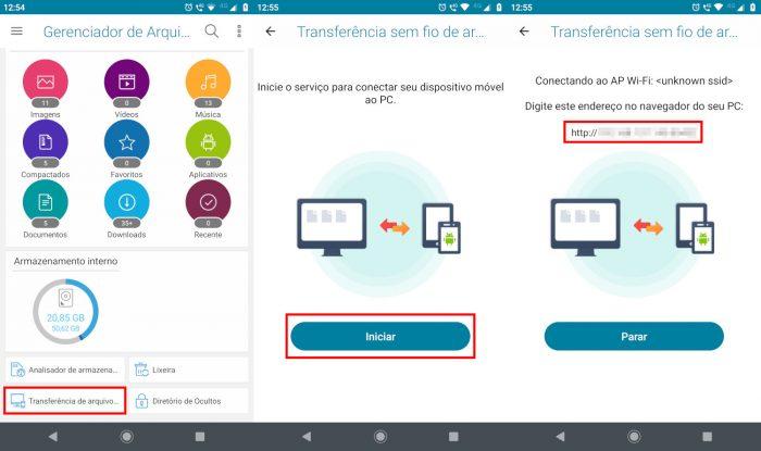 Android / ASUS File Manager / enviar arquivos via wi-fi